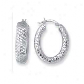 14k White Criss Cross Design Hoop Earrings