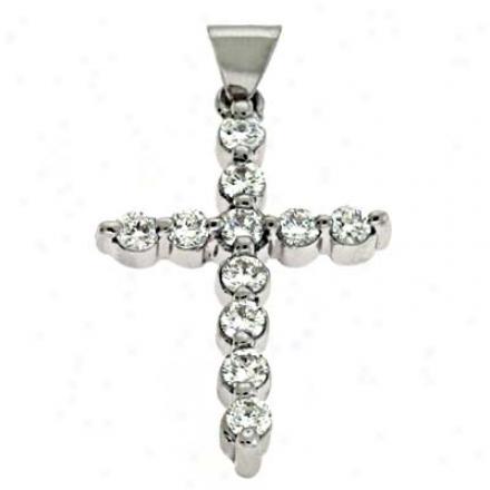 14k White Cross 0.36 Ct Diamond Pendant