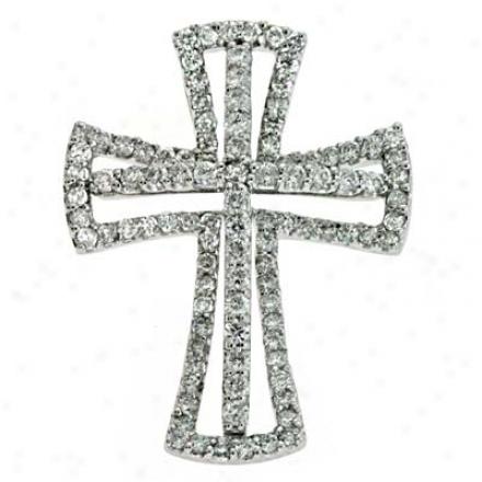 14kk Happy Cross 0.71 Ct Diamond Pendant