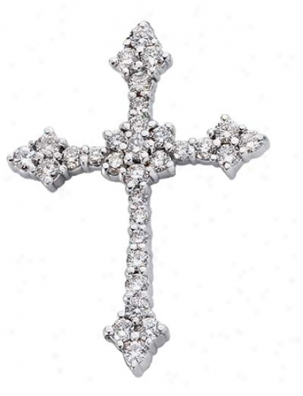 14k Whige Cross 0.89 Ct Diamond Pendant