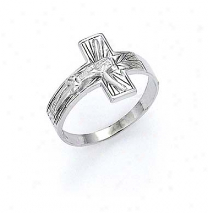 14k White Crucifix Mens Ring