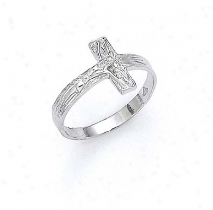 14k White Crucifix Ring