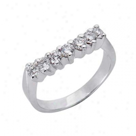 14k White Curved Design 0.6 Ct Diamond Band Ring