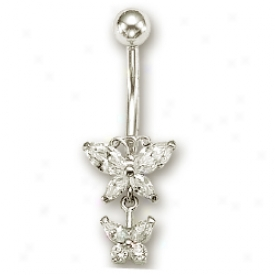 14k White Cz Butterfly Link Cubic Zirconia Belly Ring