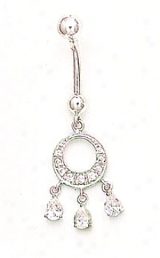 14k White Cz Chandelier Belly Ring