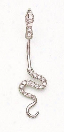 14k White Cz Snake Belly Ring