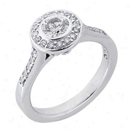 14k White Desiyner 0.96 Ct Diamond Engagement Ring