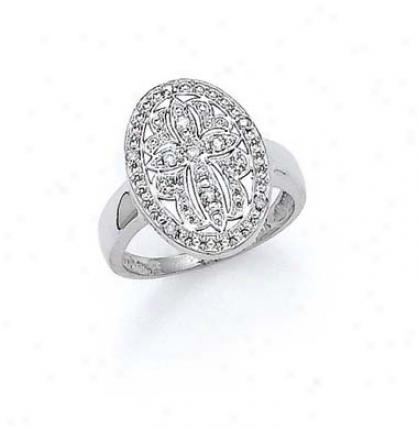 14k White Diamond Cross Ring