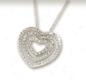 14k White Diamond-cut Impudent Heart Necklace - 18 Inch