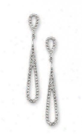 14k White Diamond-cut Drop Earrings
