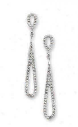 14k White Diamond-cut Drop Earrings
