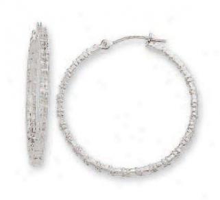 14k White Diamond-cut Earrings