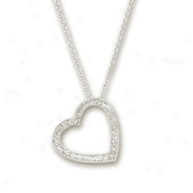 14k White Diamond-cut Heart Shwped Necklace - 17 Inch