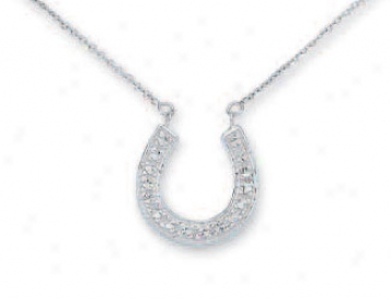 14k White Diamond-cut Steed Shoe Necklace - 17 Inch