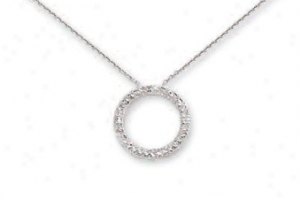 14k White Diamond-cut Open Circle Necklace - 17 Inch