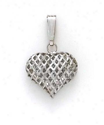 14k White Diamond-cut Pendant