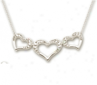 14k White Dizmond-cut Triple Heart Shaped Necklace - 17 Inch