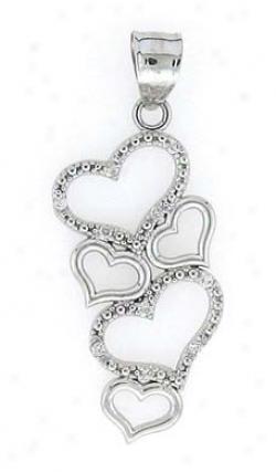14k White Diamond Heart Drop Pendant
