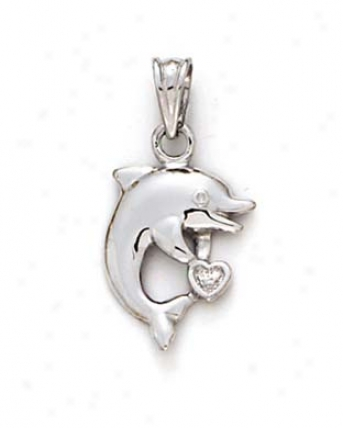 14k White Dolphin Small Heart Pendant