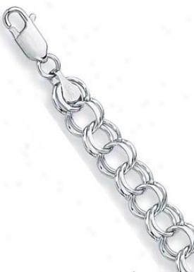 14k White Double Link Charm Bracelet - 7 Inch