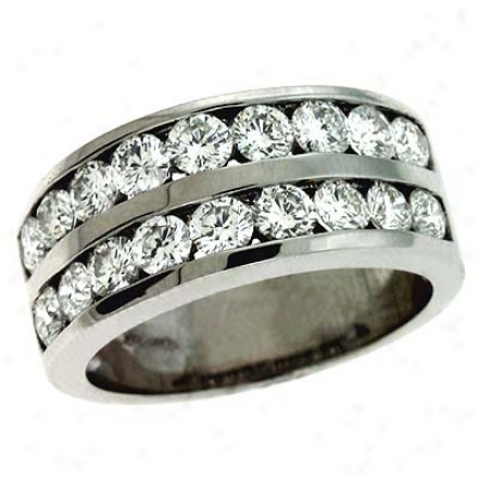 14k White Double Row Channel-set Round Diamond Band Sound