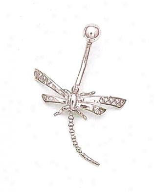 14k White Dragonfly Belly Ring