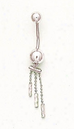 14k Whtie Distil Bead sBelly Ring