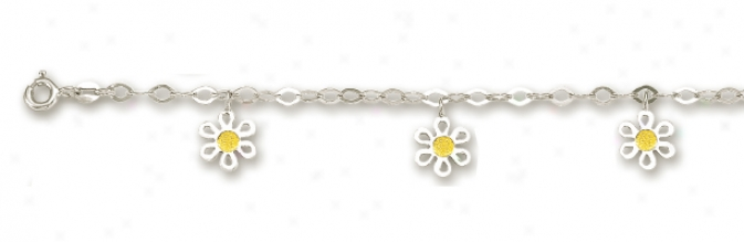 14k White Drop Flower Place Anklet - 10 Inch