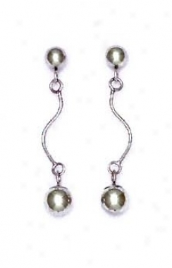 14k White Drop Friction-back Post Earrings