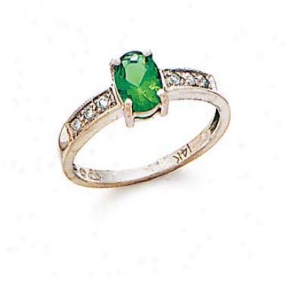 14k White Emerald And Diamond Ring