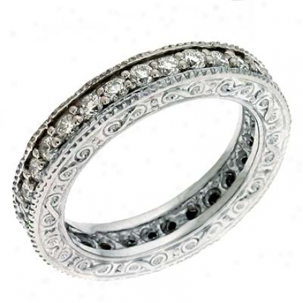 14k White Etched Eternity 1.08 Ct Diamond Band Ring
