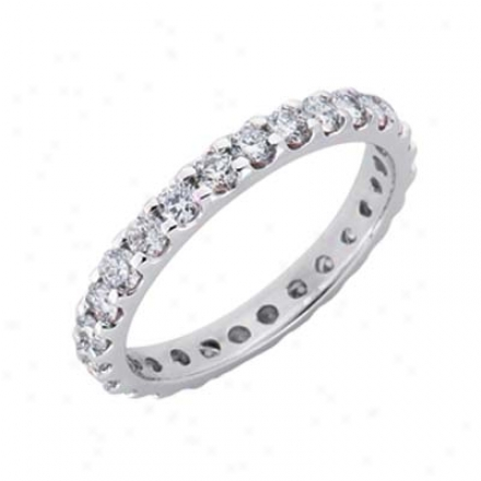 14k White Eternity 1.25 Ct Diamond Bahd Ring