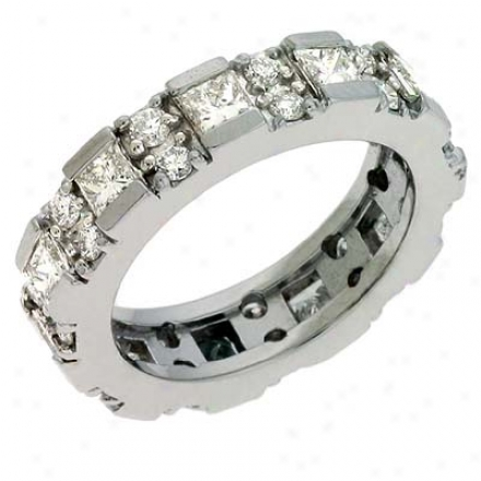 14k White Eternity 2.45 Ct Diamond Band Ring
