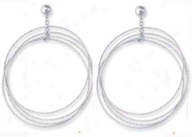 14k White Fancy Design Hoop Earrings