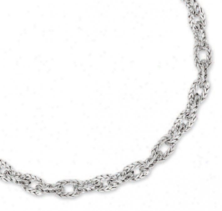 14k White Fancy Link Necklace - 17 Inch
