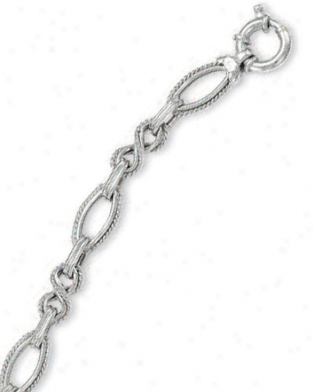 14k White Fancy Twirl Link Necklacr - 7.5 Inch