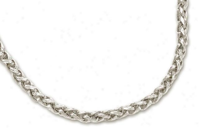 14k White Fancy Wheat Necklace - 18 Inch