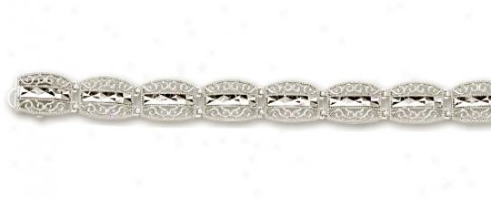 14k White Filagree Bracelet - 7.25 Inch
