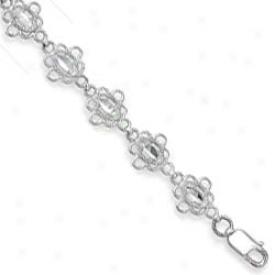 14k White Filgree Flower Bracelet - 7.25 Inch