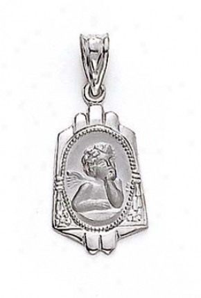 14k White Filigree Angel Pendant