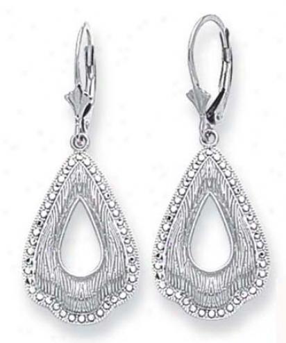 14k White Filigree Design Earrings
