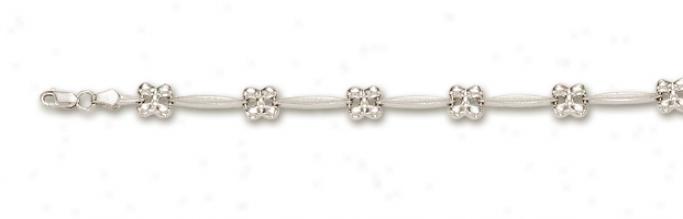 14k White Flower Station Bracelet - 7 Inch