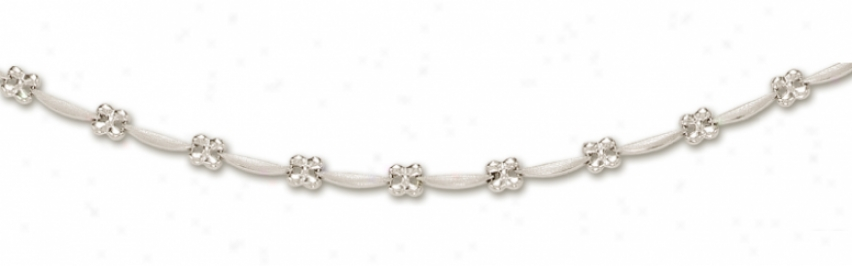 14k White Flower Station Necklace - 17 Inch