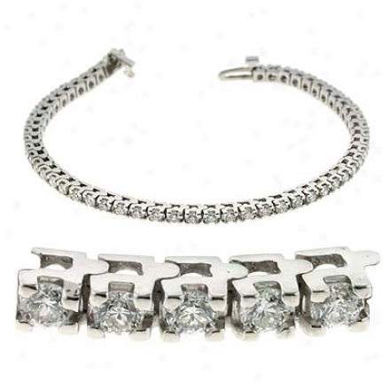14k White Four Prong Tennis 3 Ct Diamond Bracelet