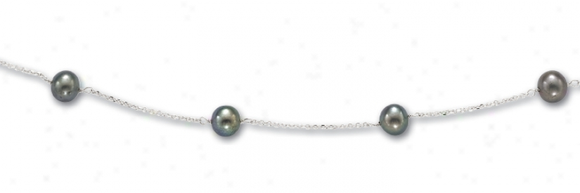 14k White Fresh Water Black Pearl Necklace - 18 Inch