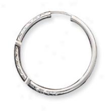 14k Whit Gold 2.5mm Diamond-cut Hoop Earrings