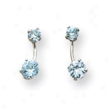 14k White Gold Blue Cz Post Earrings