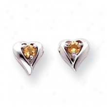 14k Pale Gold Citrien Birthstone Heart Earrings