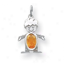 14k White Gold Citrine Boy Birthstone Charm