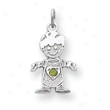 14k White Gold Cz August Boy Birthstone Charm